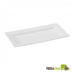 Prato rectangular em fibra de cana de açúcar 260x130mm -cor castanho-